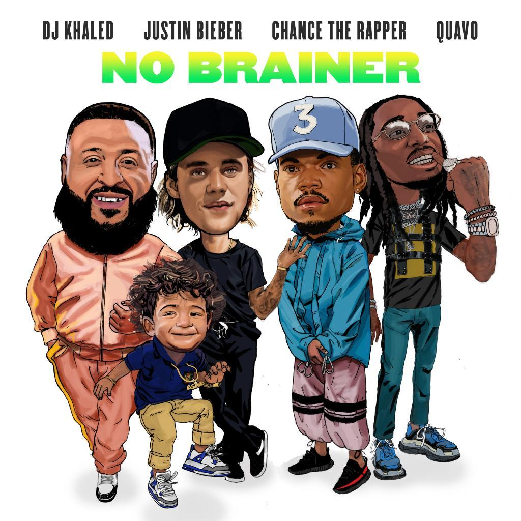 Justin-Bieber-DJ-Khaled-Chance-the-rapper-quavo-no-brainer-cover